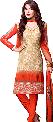 Sage-Green and Red Printed Choodidaar Kameez Suit with Embroidered Patch on Border
