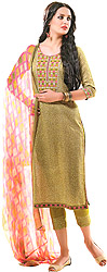 Pale-Green Printed Capri Salwar Suit with Thread Embroidery on Neck
