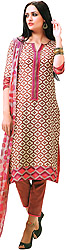 Beige and Red Capri Salwar Suit with Printed Patch on Border