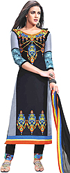 Jet-Black Parallel Salwar Suit with Embroidered Flowers and Digital Print