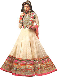 Summer-Melon Bridal Anarkali Ghera Suit with Embroidered Flowers on Neck and Three-Layered Border