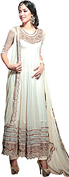 Vanilla-Ice Bridal Anarkali Suit with Embroidered Flowers in Metallic Thread and Sequins
