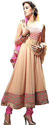 Latte-Colored Bridal Anarkali Suit with Thread Embroidery on Border
