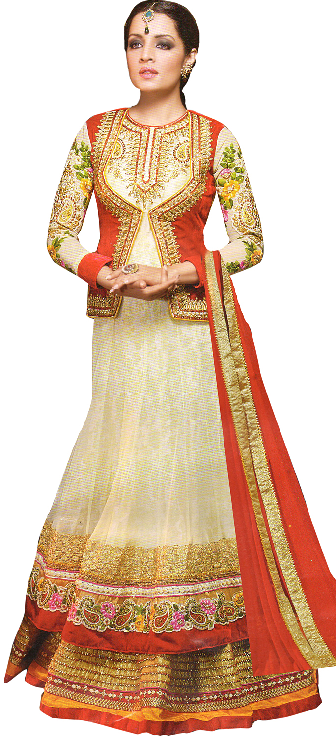 Cream and red designer bridal celina anarkali suit with for Designer bolero