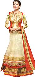 Cream and Red Designer Bridal Celina Anarkali Suit with Bolero Jacket and Two-Layered Border