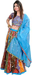 Multi-Colored Ghagra Choli From Rajasthan with Chunri Print and Hanging Cowries