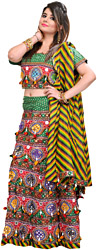 Multi-Colored Printed Lehenga Choli from Kutch with Sequins and Hanging Faux Conches