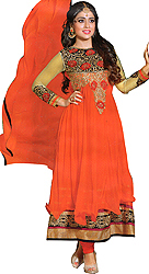 Vibrant-Orange Wedding Anarkali Suit with Metallic Thread-Embroidered Patches and Stone