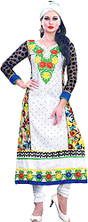 Bright-White Long Choodidaar Suit with Embroidered Patch and Printed Flowers at Back