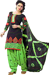 Black and Green Patiala Salwar Kameez Suit with Patch on Neck and Woven Flowers on Border