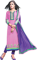 Sachet-Pink Parallel Salwar Suit with Chakras Patch on Border and Digital Print at Back
