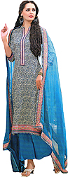 Blue-Jewel Parallel Salwar Suit with Printed Patch on Border
