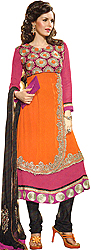 Bright-Pink and Orange Designer Anarkali Suit with Embroidered Chakras in Metallic Thread
