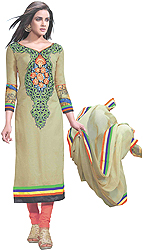 Gravel-Colored Long Choodidaar Kameez Suit with Embroidered Patch on Neck and Digital Print at Back