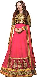 Bright-Pink Designer Bridal Celina Anarkali Suit with Embroidered Chakra on Neck and Sequins