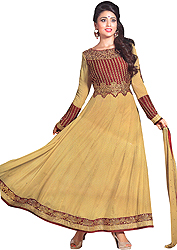 New-Wheat and Red Anarkali Suit with Floral Embroidery on Neck and Lotus Embroidered Patch Border