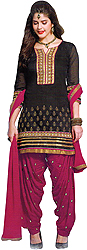 Black and Pink Patiala Salwar Kameez Suit with Embroidered Patch on Neck and Border