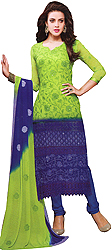 Lime-Green and Blue Shaded Long Choodidaar Kameez Suit with Embroidered Flowers and Crochet Border