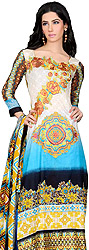 Cyan-Blue Pakistani Salwar Kameez Suit with Floral Embroidered Motifs