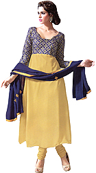 Wheat-Colored Anarkali Suit with Blue-Thread Embroidered Bust and Plain Ghagra