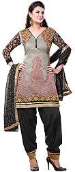 Gray and Black Patiala Salwar Kameez Suit with Thread Embroidery and Golden Patches