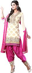 Ivory and Pink Designer Wedding Patiala Salwar Kameez Suit
