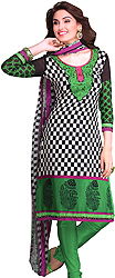 Fern-Green Choodidaar Kameez Suit with Chess Print and Embroidered Patch on Neck