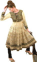 Golden-Fleece and Black Designer Anarkali Suit with Metallic Thread-Embroidery and Stone