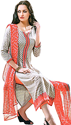 Silver and Shell-Pink Parallel Salwar Suit with Printed Patch on Border