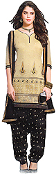Silver-Green and Black Patiala Salwar Kameez Suit with Thread Embroidery and Bootis on Salwar