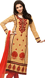 Desert-Mist and Red Long Choodidaar Kameez Suit with Embroidery in Red-Thread and Digital Print at Back