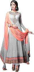 Rose-Ashes Wedding Anarkali Suit with Embroidered Patch