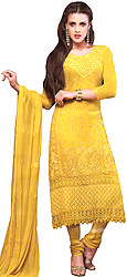 Freesia-Yellow Embroidered Long Choodidaar Kameez Suit with Crochet Border and Crystals