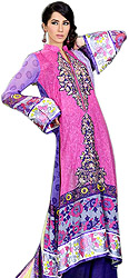 Raspberry-Rose Pakistani Salwar Kameez Suit with Floral Print and Embroidery
