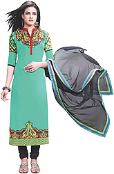 Peacock-Green Choodidaar Kameez Suit with Embroidered Paisleys on Neck and Digital Print at Back