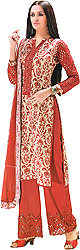 Bone-White and Cordovan Parallel Salwar Suit with Printed Flowers
