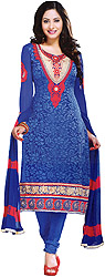 Bright-Blue Choodidaar Kameez Suit with Embroidery and Self Weave