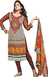 Choodidaar Kameez Suit with Embroidered Neck and Crochet Border