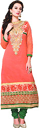 Sugar-Coral and Green Long Choodidaar Kameez Suit with Embroidered Beads