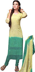 Tender-Yellow and Green Shaded Embroidered Long Choodidaar Kameez Suit with Cutwork Border and Crystals