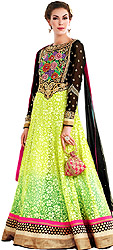 Black and Lime Parsi Embroidered Long Anarkali Suit with Crystals