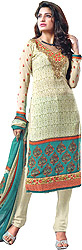 Ivory Printed Choodidaar Kameez Suit with Embroidered Patch