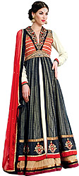 Tri-Colored Designer Wedding Long Anarkali Suit with Embroidered Collar