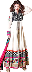 Egret-White Designer Anarkali Suit with Ari Embroidery and Sequins