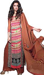 Dark-Brown Long Digital Printed Suit with Wide Salwar