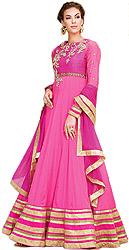 Azalea-Pink Designer Floral Embroidered Long Anarkali Suit with Golden Wide Border