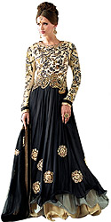 Cream and Black Designer Anarkali Layered Kameez Suit with Floral Embroidery and Crystals