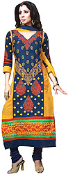 Patriot-Blue and Yellow Long Choodidaar Kameez Suit with Embroidered Bootis