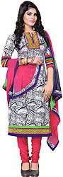 White-Black Printed Choodidaar Kameez Suit with Embroidered Patch