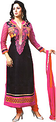 Black and Pink Embroidered Choodidaar Kameez Suit with Crochet Sleeves